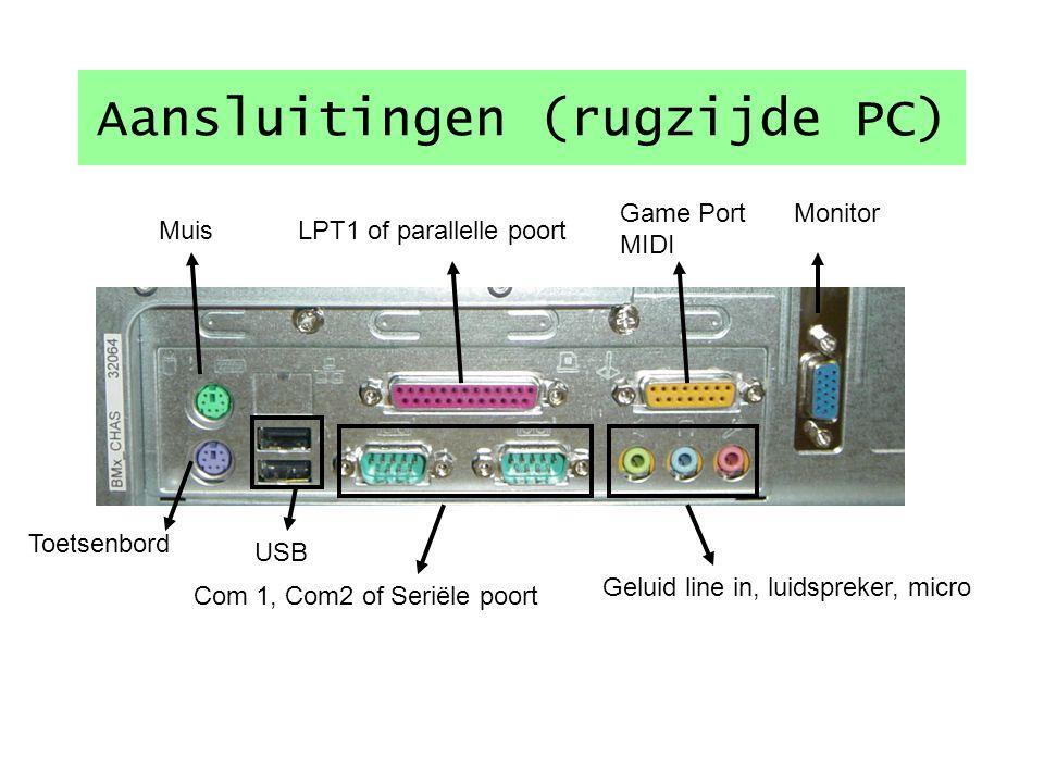 Voornaamste Aansluitingen Netkabel 1 Toetsenbord DIN 2 of PS/2 3 Muis D9 4 of D25 (COM) of PS/2 5 of USB 6 Monitor 7 Printer (LPT 8 en/of USB 6) Line out (Luidsprekers 9 ) Micro 9 Line in (geluidsbron) 9 Scanner (meestal USB ) 6 Netwerk 10 Modem (COM 4 of USB 6) 723 4 555 6 1 8 AB Overgang D25 -> D9 A Overgang DIN -> PS2 B