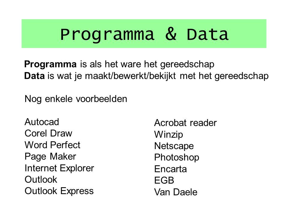Programma & Data vb Programma's (applicatie's).exe.com.dll Data WordDocument - tekst ExcelRekenblad spreadsheet (XLS) AccessDe database (gegevens) Pow