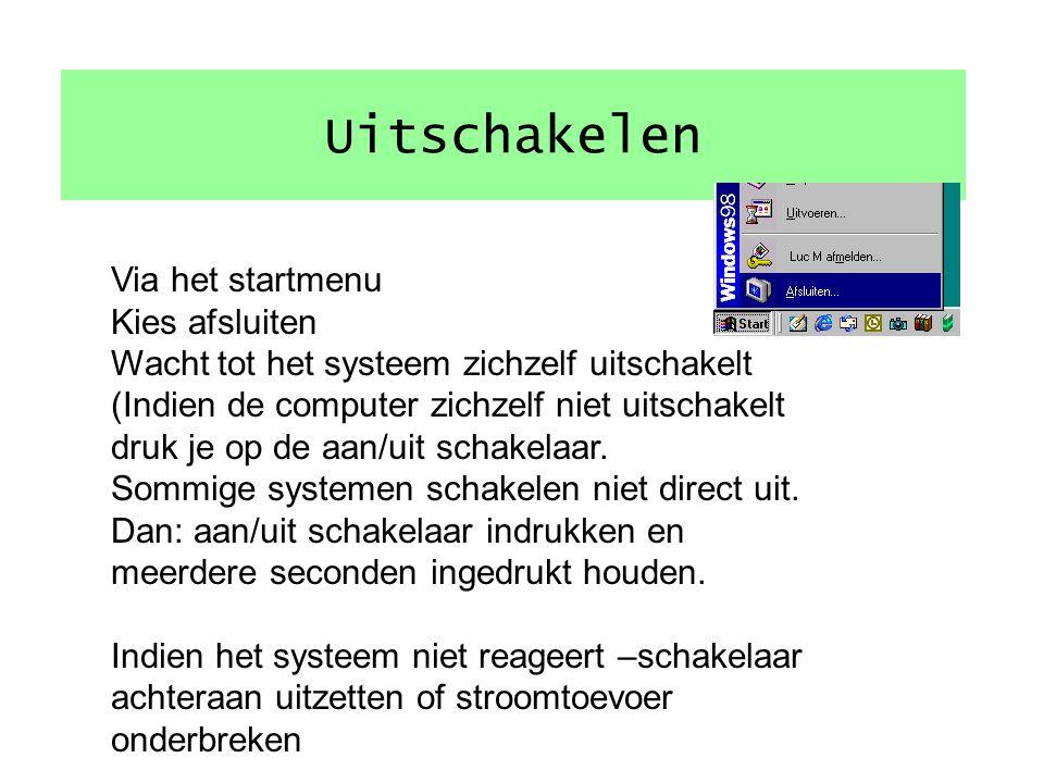 Inschakelen 1.Controleer de stroomtoevoer 2.Indien aanwezig, schakelaar achterkant van de computer aan.