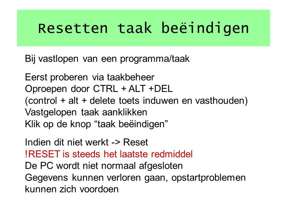 Uitloggen/inloggen Uitloggen = afmelden van PC/netwerk zonder PC uit te schakelen Inloggen is opnieuw aanmelden aan PC/netwerk met evt een andere iden