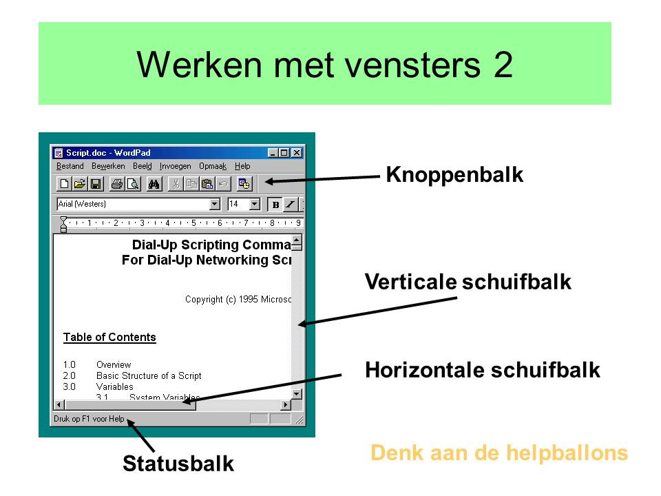 Werken met vensters Minimalseren Maximaliseren/vorig formaat Sluiten Titelbalk Menubalk