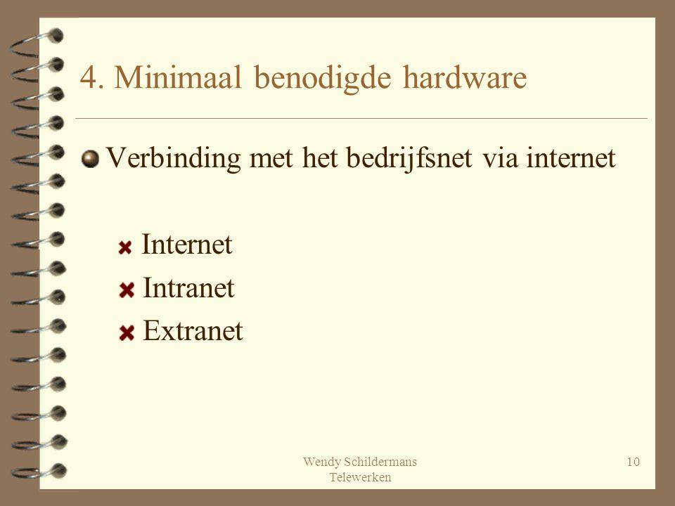 Wendy Schildermans Telewerken 10 Verbinding met het bedrijfsnet via internet Internet Intranet Extranet 4. Minimaal benodigde hardware