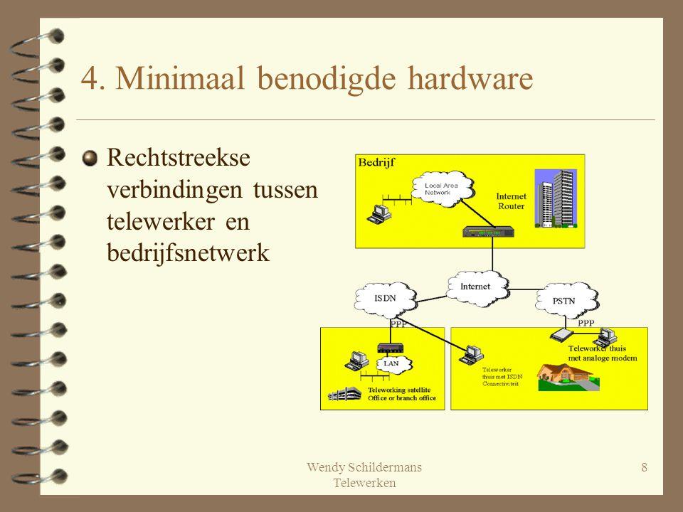 Wendy Schildermans Telewerken 8 4. Minimaal benodigde hardware Rechtstreekse verbindingen tussen telewerker en bedrijfsnetwerk