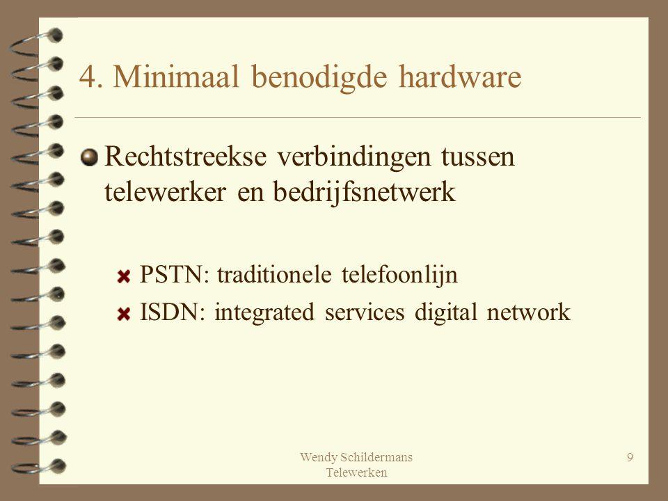 Wendy Schildermans Telewerken 9 4. Minimaal benodigde hardware Rechtstreekse verbindingen tussen telewerker en bedrijfsnetwerk PSTN: traditionele tele