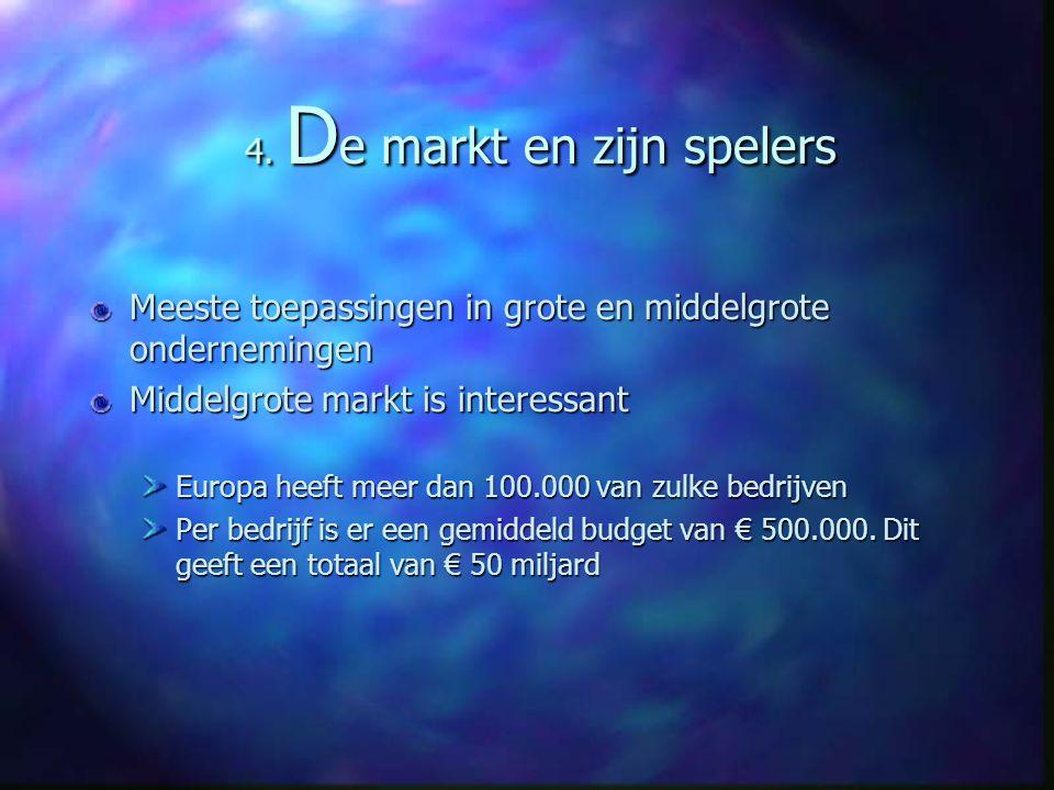 4. D e markt en zijn spelers Meeste toepassingen in grote en middelgrote ondernemingen Middelgrote markt is interessant Europa heeft meer dan 100.000