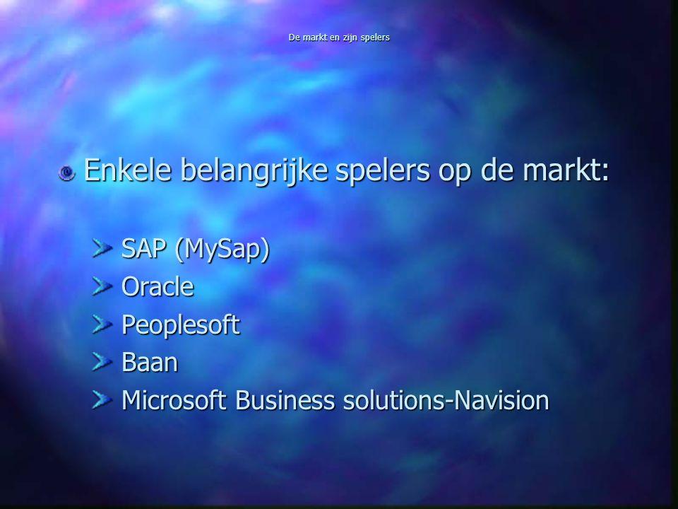 De markt en zijn spelers Enkele belangrijke spelers op de markt: SAP (MySap) SAP (MySap) Oracle Oracle Peoplesoft Peoplesoft Baan Baan Microsoft Business solutions-Navision Microsoft Business solutions-Navision