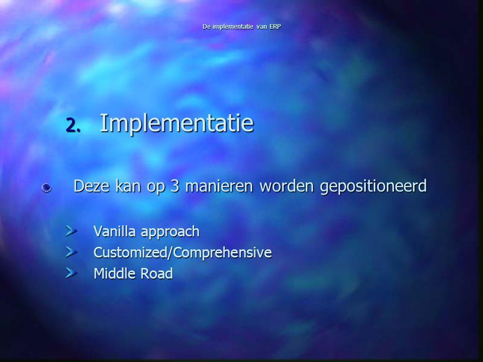 De implementatie van ERP 2. Implementatie Deze kan op 3 manieren worden gepositioneerd Vanilla approach Customized/Comprehensive Middle Road