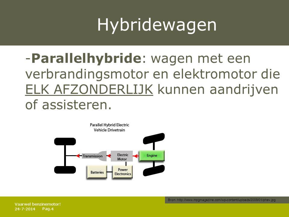 Pag. Hybridewagen -Parallelhybride: wagen met een verbrandingsmotor en elektromotor die ELK AFZONDERLIJK kunnen aandrijven of assisteren. 24-7-20144 V