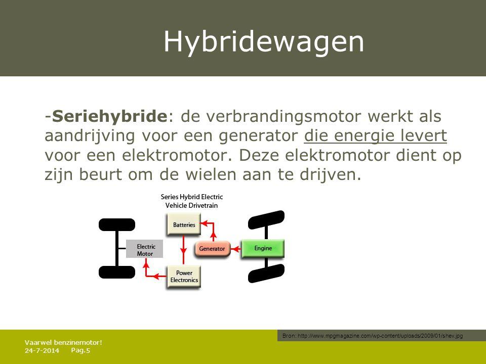 Pag. Hybridewagen -Seriehybride: de verbrandingsmotor werkt als aandrijving voor een generator die energie levert voor een elektromotor. Deze elektrom