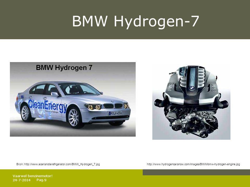 Pag. BMW Hydrogen-7 24-7-20149 Vaarwel benzinemotor! Bron: http://www.acarisnotarefrigerator.com/BMW_Hydrogen_7.jpg http://www.hydrogencarsnow.com/ima