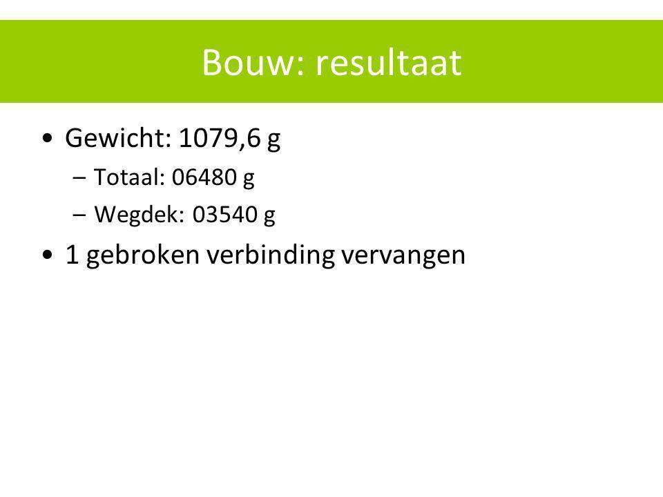 Bouw: resultaat Gewicht: 1079,6 g –Totaal: 06480 g –Wegdek: 03540 g 1 gebroken verbinding vervangen