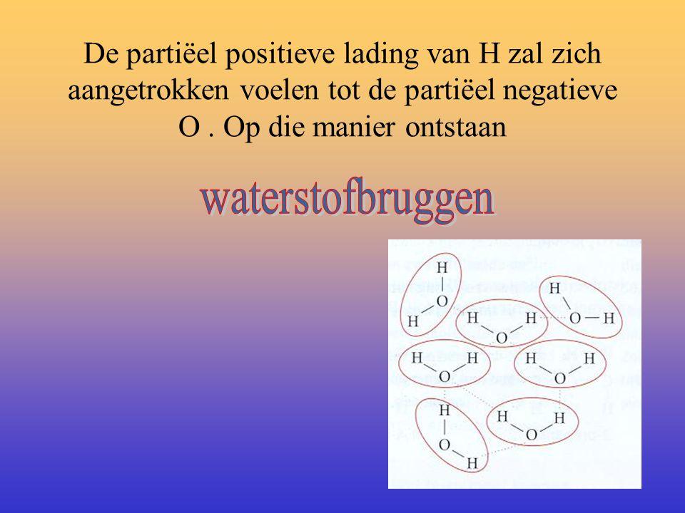 We spreken van een dipoolmolecuul. Een elektronenpaar ('streepje') in H-O-H noemen we dan een polair covalente binding. Om de ladingsverschuiving aan