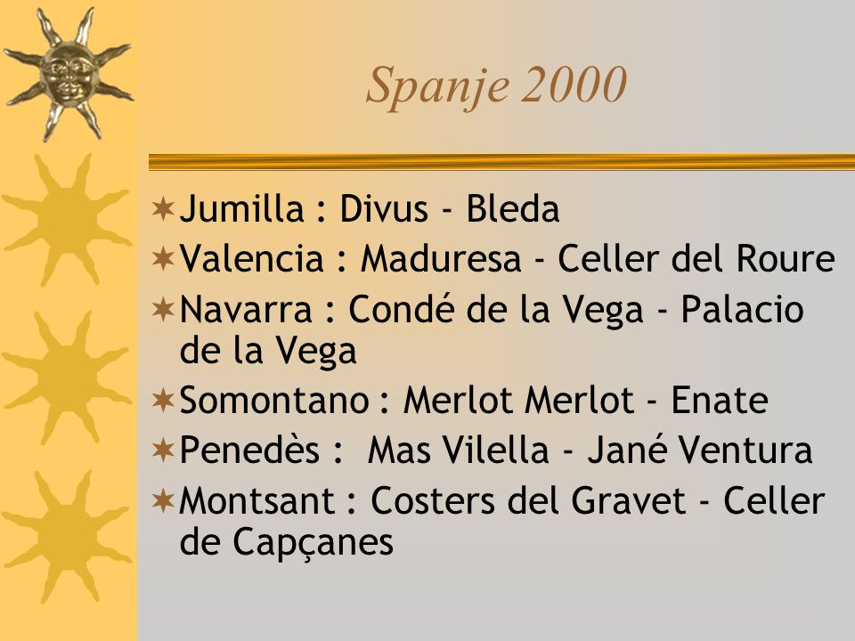 Juan Jimenez : enologist and winery director Vintage: 2000 Varities: Monastrell,Tempranillo Alcohol according to the label:13.5 % Mourvèdre is een van oorsprong Catalaanse druivensoort, die in het Catalaans mataro wordt genoemd, maar het meest bekend is onder de naam MonastrellCatalaansedruivensoort Tempranillo dankt z n naam aan het gegeven dat hij vroeg rijpt.