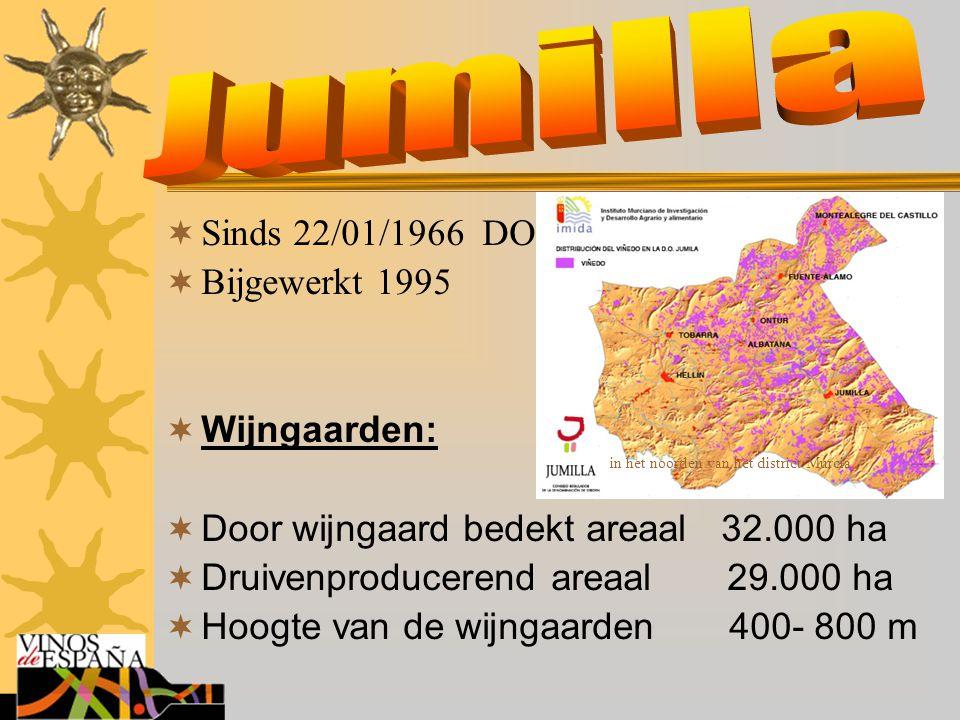  Sinds 22/01/1966 DO  Bijgewerkt 1995  Wijngaarden:  Door wijngaard bedekt areaal 32.000 ha  Druivenproducerend areaal 29.000 ha  Hoogte van de