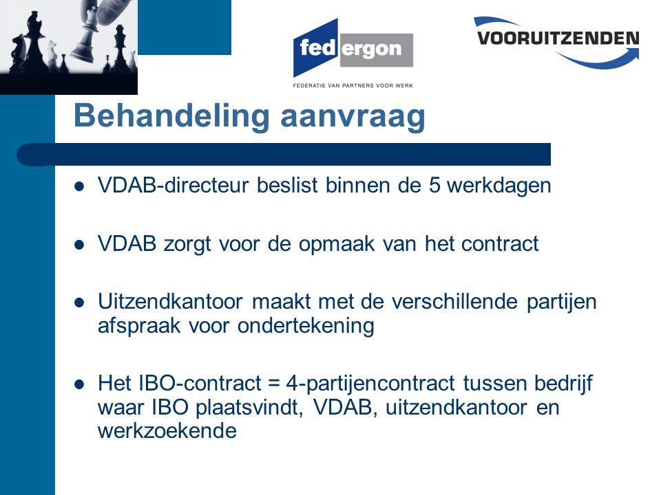 Behandeling aanvraag VDAB-directeur beslist binnen de 5 werkdagen VDAB zorgt voor de opmaak van het contract Uitzendkantoor maakt met de verschillende partijen afspraak voor ondertekening Het IBO-contract = 4-partijencontract tussen bedrijf waar IBO plaatsvindt, VDAB, uitzendkantoor en werkzoekende