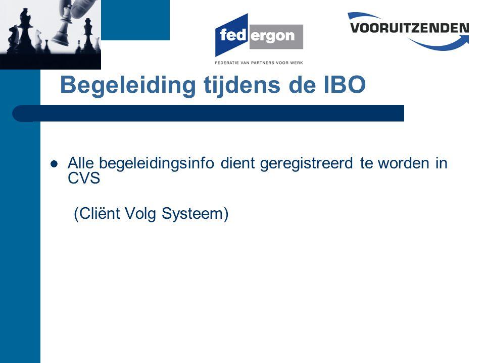 Begeleiding tijdens de IBO Alle begeleidingsinfo dient geregistreerd te worden in CVS (Cliënt Volg Systeem)