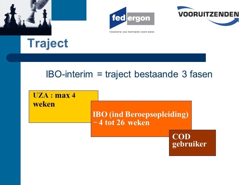 Traject UZA : max 4 weken IBO(ind Beroepsopleiding) – 4 tot 26 weken COD gebruiker IBO-interim = traject bestaande 3 fasen