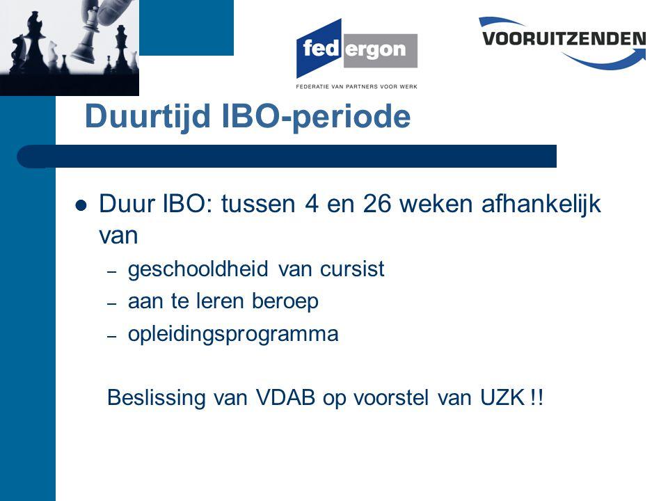 Aanvraag IBO-interim :opleidingsplan Uitgangspunt: Competentie- en Beroepen Repertorium voor de Arbeidsmarkt (COBRA) Beschikbaar via http://vdab.be/cobrahttp://vdab.be/cobra Samenstellen competentieprofiel i.s.m.
