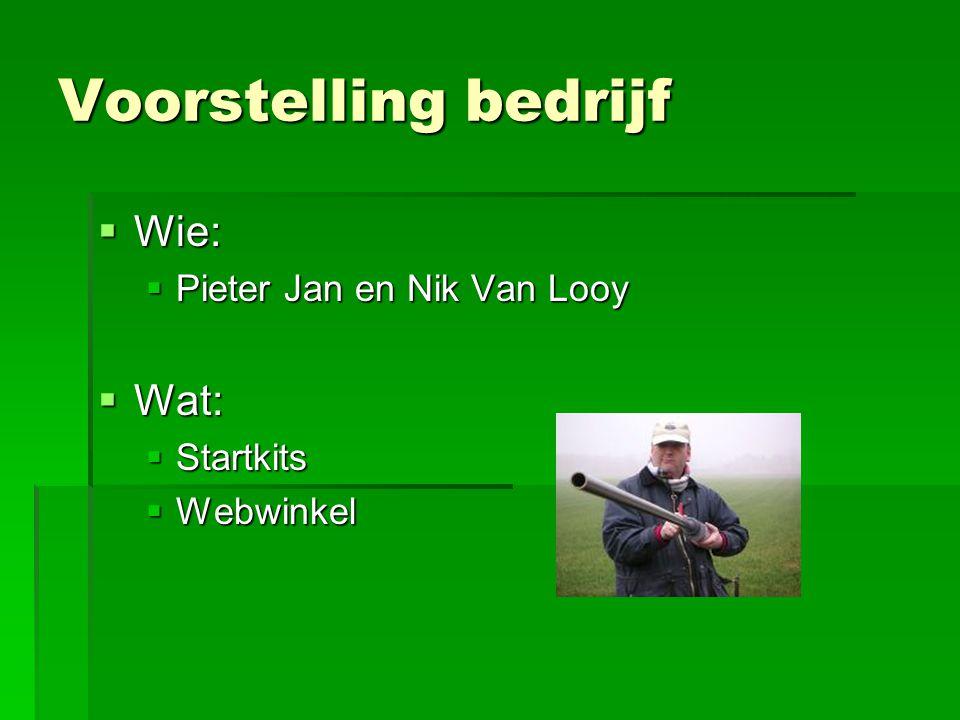 Voorstelling bedrijf  Wie:  Pieter Jan en Nik Van Looy  Wat:  Startkits  Webwinkel