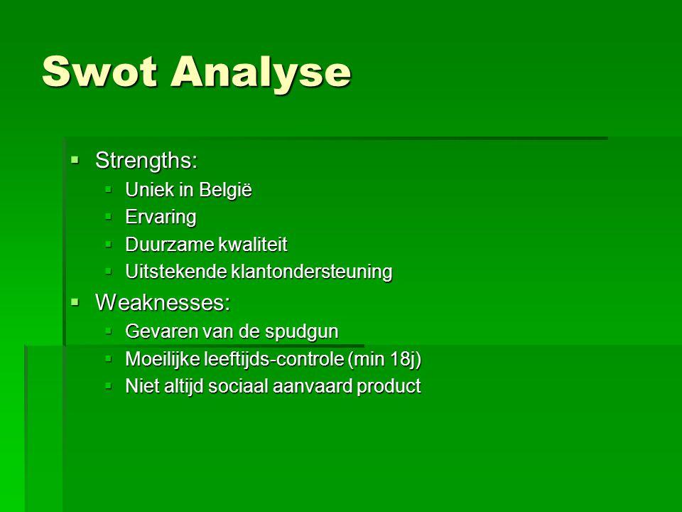 Swot Analyse  Strengths:  Uniek in België  Ervaring  Duurzame kwaliteit  Uitstekende klantondersteuning  Weaknesses:  Gevaren van de spudgun 