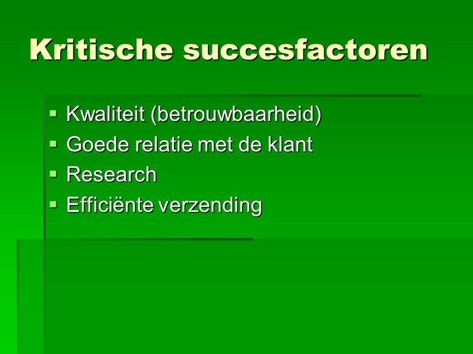 Kritische succesfactoren  Kwaliteit (betrouwbaarheid)  Goede relatie met de klant  Research  Efficiënte verzending