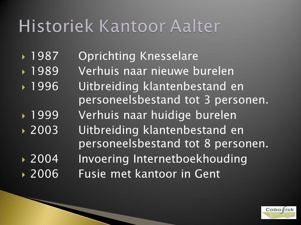  1987Oprichting Knesselare  1989Verhuis naar nieuwe burelen  1996Uitbreiding klantenbestand en personeelsbestand tot 3 personen.  1999Verhuis naar