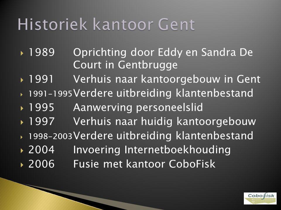 1989Oprichting door Eddy en Sandra De Court in Gentbrugge  1991Verhuis naar kantoorgebouw in Gent  1991-1995 Verdere uitbreiding klantenbestand 