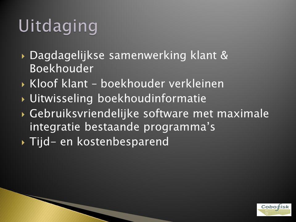  Dagdagelijkse samenwerking klant & Boekhouder  Kloof klant – boekhouder verkleinen  Uitwisseling boekhoudinformatie  Gebruiksvriendelijke softwar