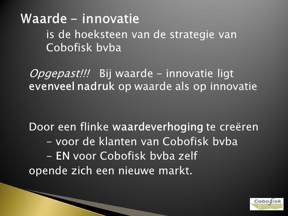 Waarde - innovatie is de hoeksteen van de strategie van Cobofisk bvba Opgepast!!! Bij waarde - innovatie ligt evenveel nadruk op waarde als op innovat
