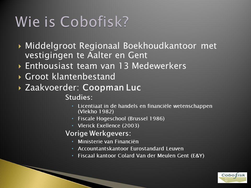  Middelgroot Regionaal Boekhoudkantoor met vestigingen te Aalter en Gent  Enthousiast team van 13 Medewerkers  Groot klantenbestand  Zaakvoerder: