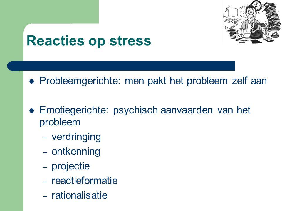 Gevolgen van stress Fysisch: – sneller ademen – hart sneller en bloeddruk  – spijsvertering vertraagt – spieren spannen zich – bloed stolt sneller –