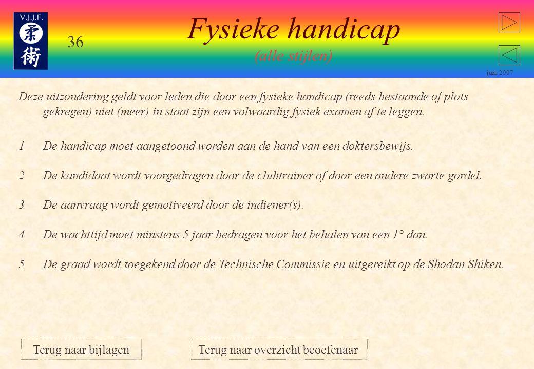 35 juni 2007 Geldig voor stijl Van Haesendonck: Vrouwen mogen kiezen: punten behalen op randori afstand of toets. Zij leggen dan een toets af op de fe