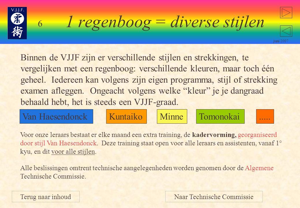 6 juni 2007 Binnen de VJJF zijn er verschillende stijlen en strekkingen, te vergelijken met een regenboog: verschillende kleuren, maar toch één geheel.