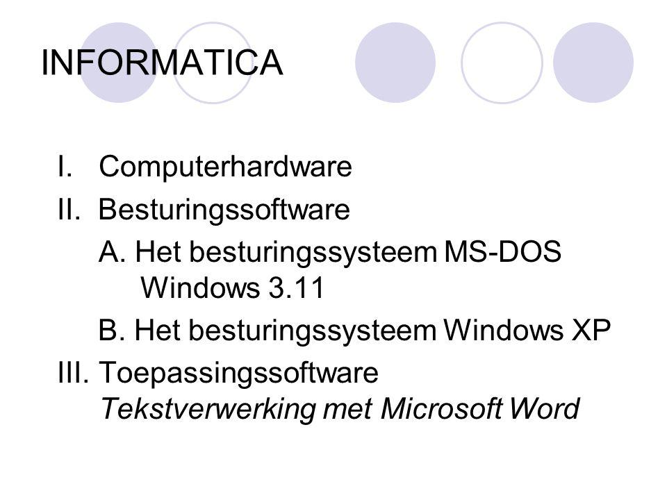 INFORMATICA I.Computerhardware II.Besturingssoftware A.