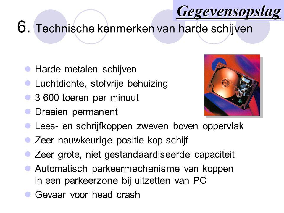 5. Technische kenmerken van diskettes Soepel polyester schijfje Tussen 2 anti-stof vliesjes 300 toeren per minuut Lees- en schrijfkop raakt oppervlak