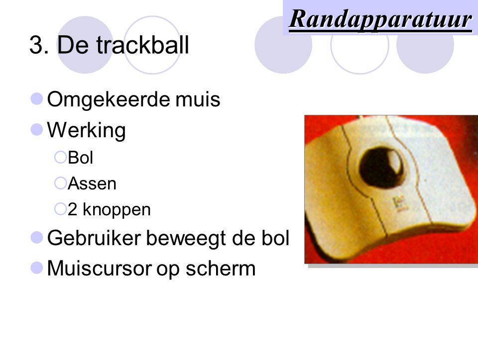 2. De muis Aanwijsapparaat Werking  Bol  Assen  2 knoppen Gebruiker beweegt de muis Muiscursor op scherm Randapparatuur
