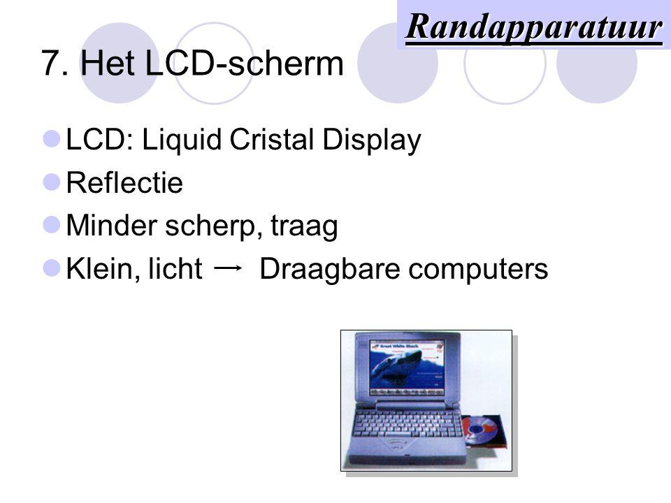 Het beeldscherm (3) Videokaart (VGA, SVGA)  Processor  Geheugen (1 MB) Randapparatuur
