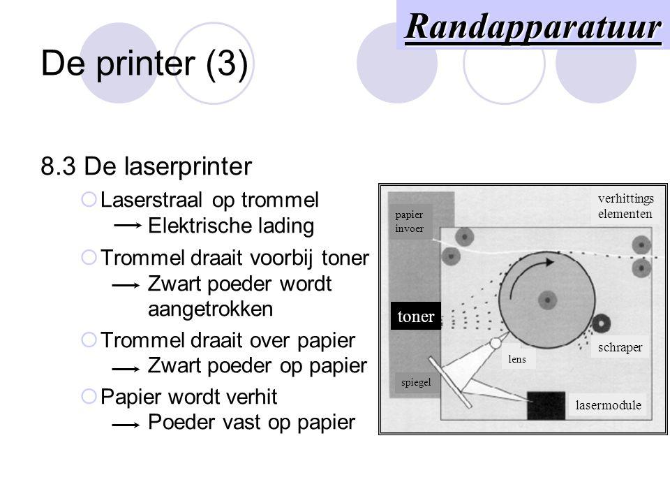 De printer (2) 8.2 De inkjetprinter  Printerkop met inktbuisjes Inkt wordt gespoten  Kleuren mogelijk Randapparatuur