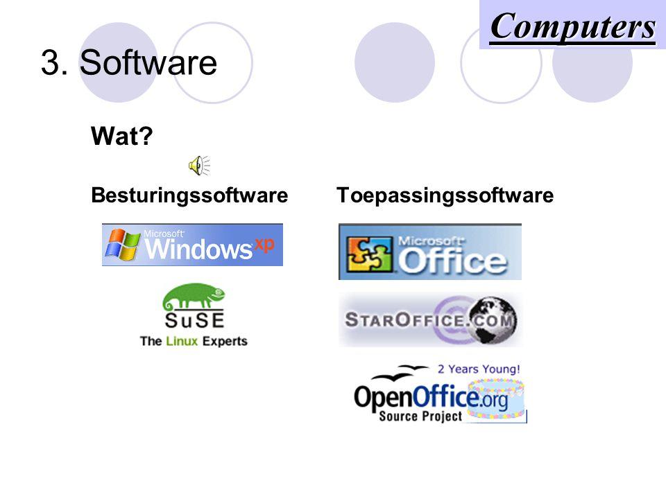 3. Software Wat? Besturingssoftware Toepassingssoftware Computers