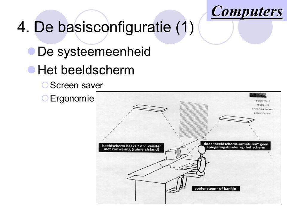 4. De basisconfiguratie (1) De systeemeenheid Het beeldscherm  Screen saver  Ergonomie Computers