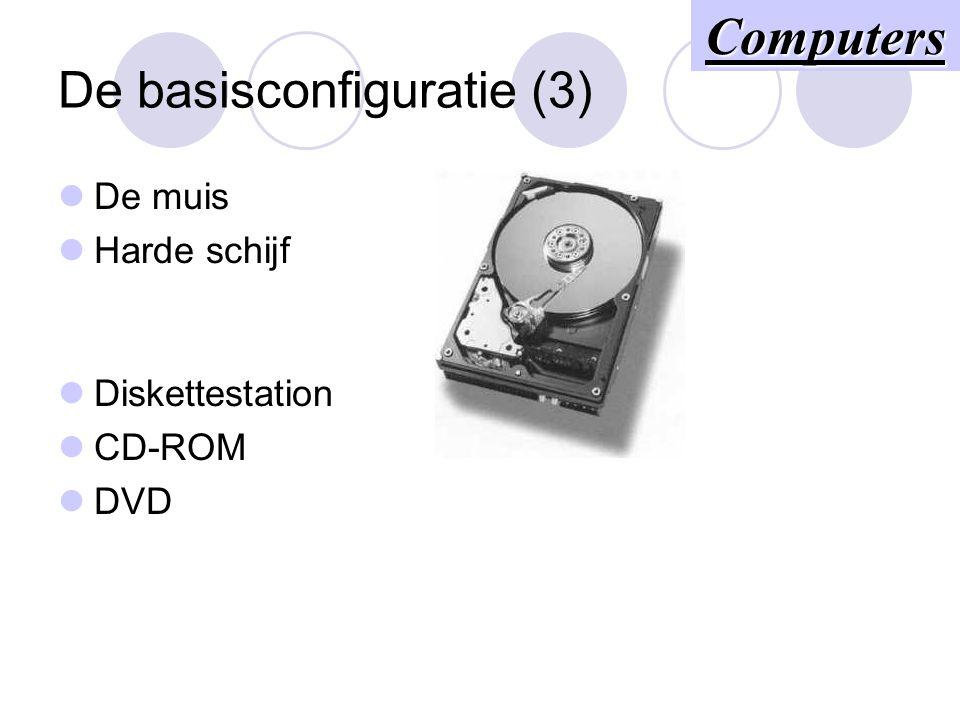 De basisconfiguratie (3) De muis Harde schijf Diskettestation CD-ROM DVD Computers