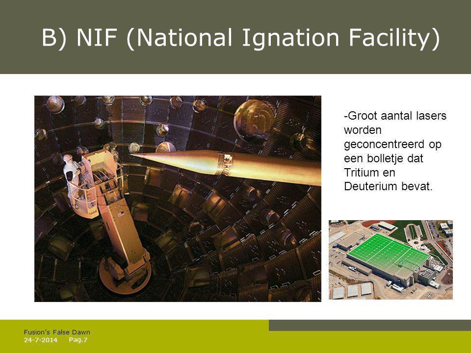 Pag. B) NIF (National Ignation Facility) 24-7-20147 Fusion's False Dawn -Groot aantal lasers worden geconcentreerd op een bolletje dat Tritium en Deut