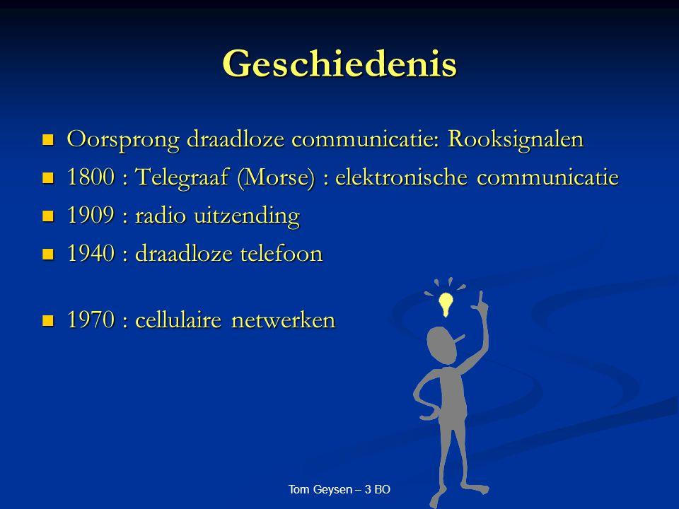 Tom Geysen – 3 BO Geschiedenis Oorsprong draadloze communicatie: Rooksignalen Oorsprong draadloze communicatie: Rooksignalen 1800 : Telegraaf (Morse)