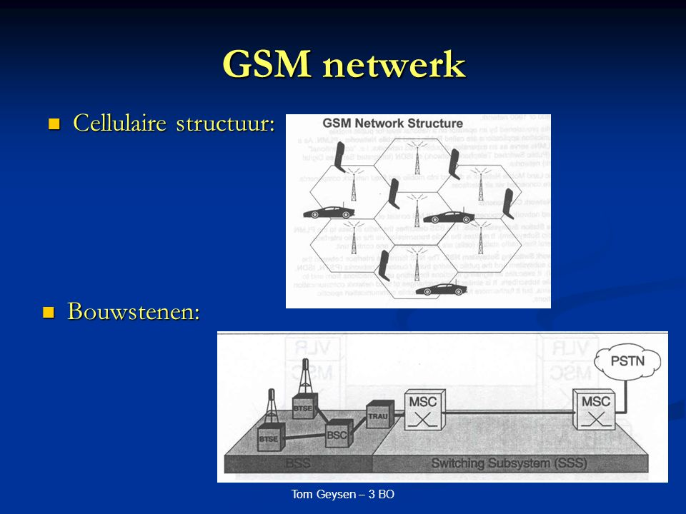 Tom Geysen – 3 BO Van Voice naar Data Evolutie van 1G naar 3G GSM netwerken Evolutie van 1G naar 3G GSM netwerken 1G: analoge netwerken 1G: analoge netwerken 2G: digitale netwerken 2G: digitale netwerken Voordelen: compressie, encrypteren Voordelen: compressie, encrypteren 2G+ : verhogen van snelheid 2G+ : verhogen van snelheid Behoefte aan bandbreedte o.w.v.