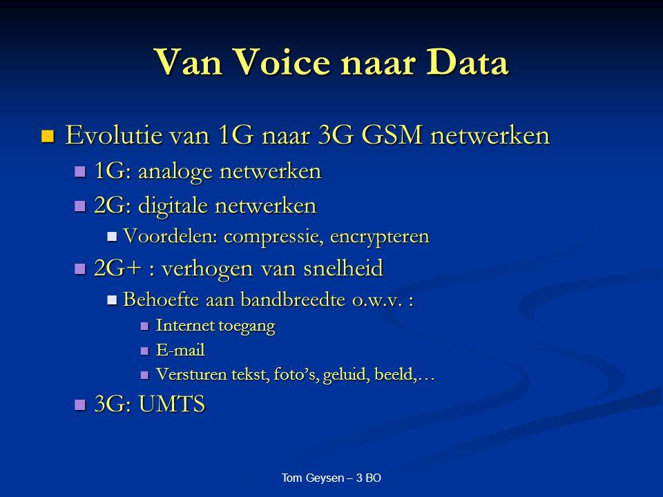 Tom Geysen – 3 BO Van Voice naar Data Evolutie van 1G naar 3G GSM netwerken Evolutie van 1G naar 3G GSM netwerken 1G: analoge netwerken 1G: analoge ne
