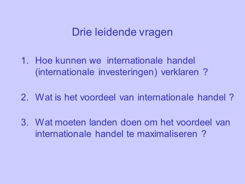 Drie leidende vragen 1.Hoe kunnen we internationale handel (internationale investeringen) verklaren .