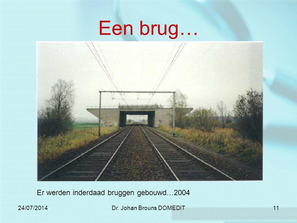24/07/2014Dr. Johan Brouns DOMEDIT11 Een brug… Er werden inderdaad bruggen gebouwd…2004