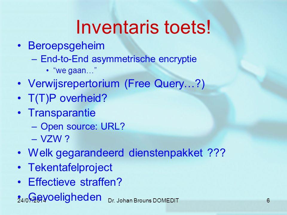 24/07/2014Dr. Johan Brouns DOMEDIT6 Inventaris toets.