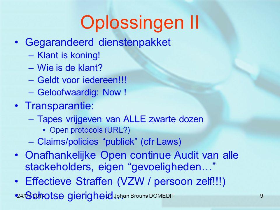 24/07/2014Dr. Johan Brouns DOMEDIT9 Oplossingen II Gegarandeerd dienstenpakket –Klant is koning.