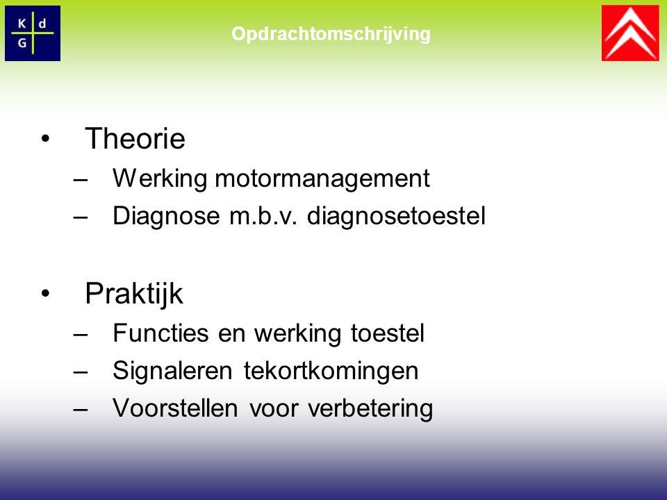 Theorie –Werking motormanagement –Diagnose m.b.v.